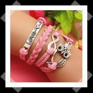 Love Owls Infinity Leather Charm Bracelet .  Measu